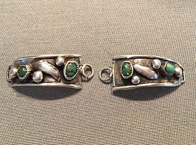 Vtg Old ZUNI Sterling Silver Turquoise Watch Band End Tip Native American Indian