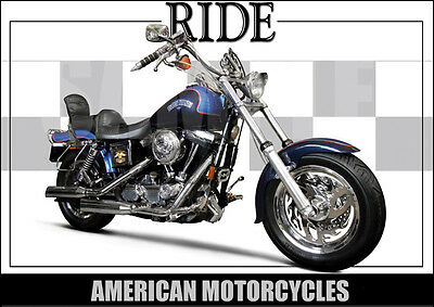 Harley Davidson Dyna Fxdwg Laminated Classic Motorcycle Print / Poster
