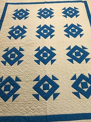 "Wonderful Handmade Hand Stitched Vintage Blue And White Quilt 73 ""By 90"""