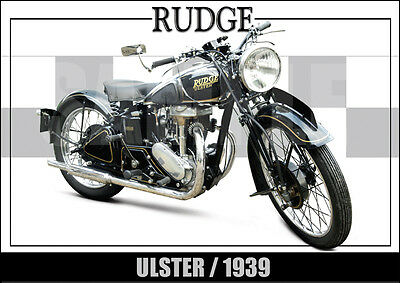 Rudge Ulster (1939) Laminated Motorcycle Print /  Motorcycle Poster