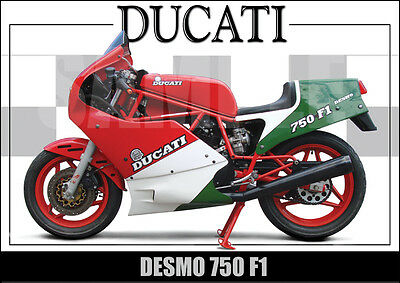 Ducati 750 F1 (1986) Laminated Classic Motorcycle Print /  Poster