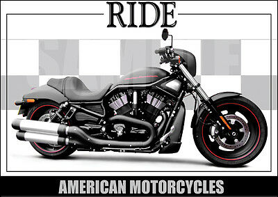 Harley Davidson Night Rod Special Laminated Classic Motorcycle Print / Poster