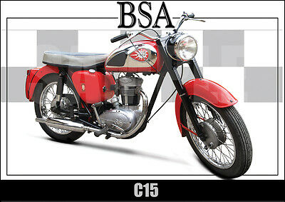 Bsa C15 Laminated Classic Motorcycle Print /  Poster