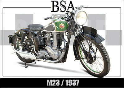 Bsa M23 (1937) Laminated Classic Motorcycle Print /  Poster