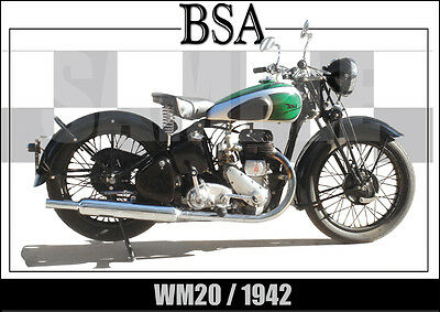 Bsa Wm20 (1942) Laminated Classic Motorcycle Print /  Poster