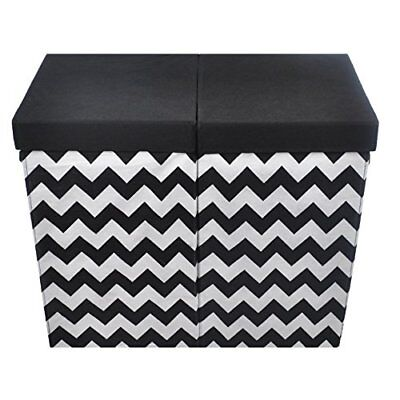 Modern Littles Bold Folding Double Laundry Basket Black and White Chevron