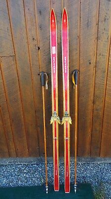 "Vintage Wooden 70"" Long Skis BLOND AND RED Finish Signed SPLITKEIN + Poles"