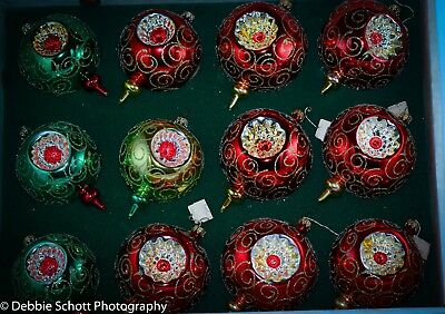 SET of 12 LOT ROUND MICA 3-Sided INDENT Ornaments - NO RESERVE