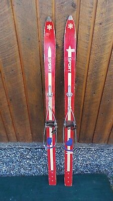 "VINTAGE 53"" Skis RED Finish Signed SPORT with Metal Bindings"