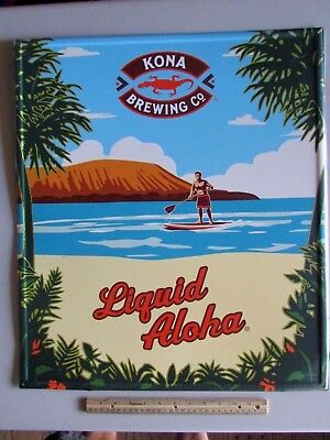 NEW Kona Brewing Co. Liquid Aloha Long board Beer Tin Tacker Sign Beach Island