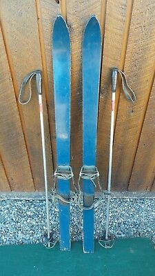 "VINTAGE 47"" Skis BLUE Finish with Metal Bindings and Metal Poles"