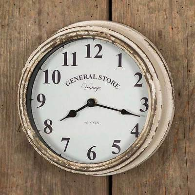 New Rustic Farmhouse Chic Shabby Chippy Cream GENERAL STORE WALL CLOCK Hanging