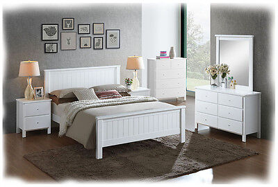 Bobby 6 Piece KING Size White Timber Bedroom Suite  - BRAND NEW