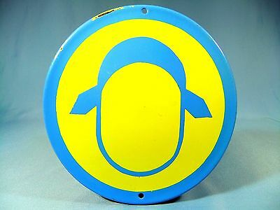 VTG PORCELAIN ENAMEL WEAR YOUR HAIR TIED!YELLOW&BLUE METAL SIGN PLATE ca.1960's