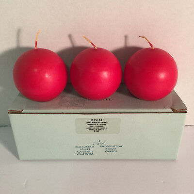 "Partylite - Box Of 3 Mini Ball Candles 2"" Cinnamon Bayberry (Q23199) - Retired"