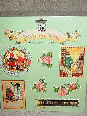 New Mary Engelbreit Friendship Paper Covered Magnets 7 Total