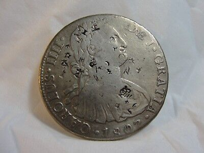 1807 Peru 8 Reales Silver Coin Charles IIII Chop Marks - NO RESERVE