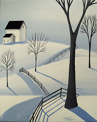 ORIGINAL painting folk art whimsical landscape winter snow woods road country