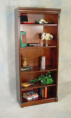 Dark Brown Cherry Office Bookcase or Library Bookshelf with adjustable Shelves