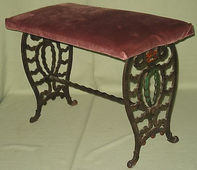 Vintage Decorative Wrought Iron Vanity Piano Bench Art Deco Style Velvet Seat