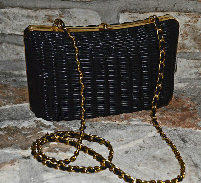 Vintage 1980s BLACK WICKER Convertible Shoulder Purse to Clutch w/ Chain Strap