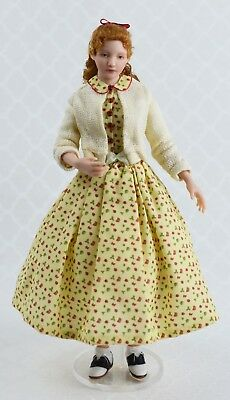 Miniature Porcelain Dollhouse Doll in 1:12 Scale-1950s Young Lady