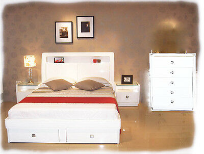 Gemma 4 piece KING Bedroom Suite with LED Lights - Hi Gloss White - BRAND NEW