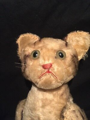 Antique Mohair Steiff Cat Fully Jointed Nice, With Growler, 13 inches long !!!