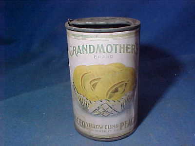 Early 1900s GRANDMOTHERS PEACHES Advertising FOOD TIN Opened w Orig PAPER LABEL