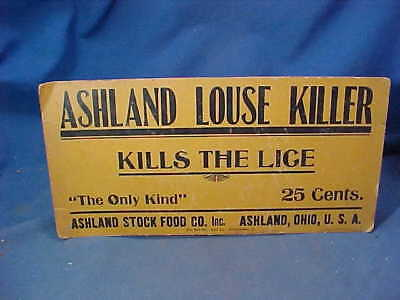 Early 1900s ASHLAND LOUSE KILLER Advertising COUNTRY STORE SIGN Ashland Stock Co