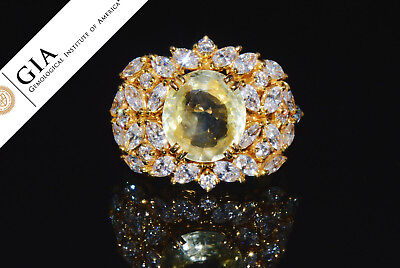 GIA Natural 8.4CTS Diamond Unheated Sapphire 18K Solid Gold Bombay Dome Ring