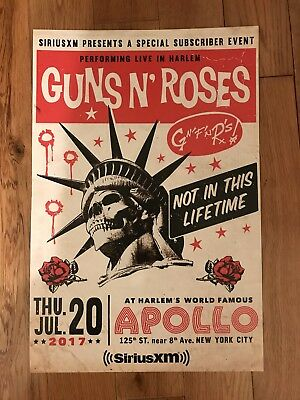 Guns N' Roses Tour Poster Apollo Theater New York City July 20, 2017 Sirius NYC
