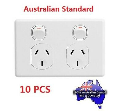 10 X A Amp 240V Double Power Point,  Wall Socket Outlet, Light Switch
