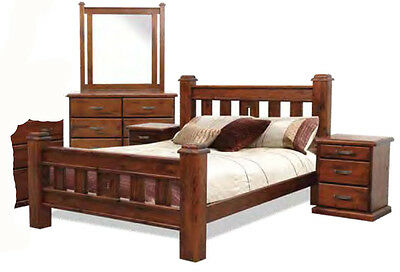 Swansea 4 Piece Old Walnut KING SINGLE Solid Timber Bedroom Suite - BRAND NEW