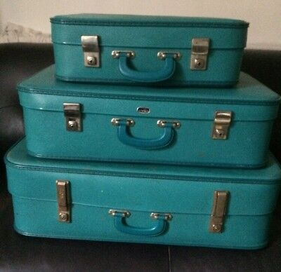 True vintage set of 3 Crown blue stacking suitcases large small medium