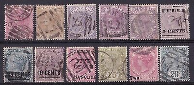 Ceylon 1866/1890 collection of 12 used