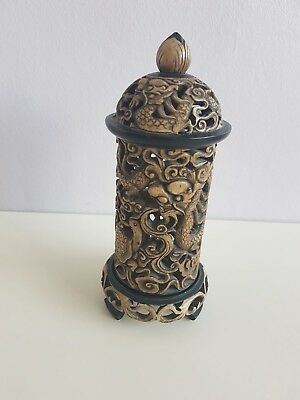 Antique/ Vintage Chinese Soapstone Carving Tealight Candle Holder