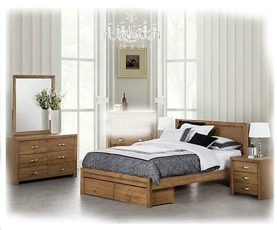 Hal 5 Pce QUEEN Mocha American Ash Suite With Storage Drawers - BRAND NEW