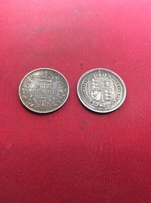 2x Silver Sixpence Coins Different Types 1887 Jubilee Head Nice Grade.
