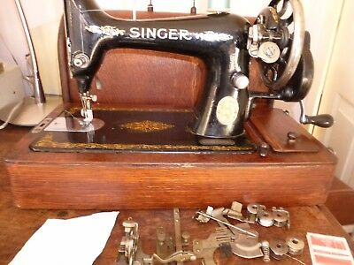 Classic Singer 99K Hand Crank Sewing Machine With Case & Instructions