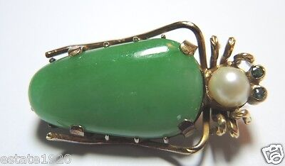 Antique Art Deco Vintage Jadeite Grasshopper Pin Hallmark LW20 14K Yellow Gold