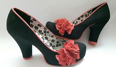 Ruby Shoo Ladies Black Court Shoes With Salmon Flower Corsage Size 3 (36) Vgc