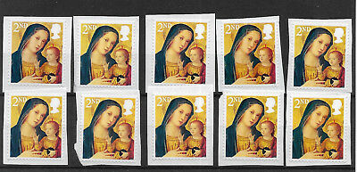 10 GB Unfranked 2nd class security Christmas stamps on paper. Ref 2017/038.