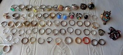 Rings Mixed Lot Mood Cocktail Spoon Fire Opal Unmarked Nice Collection Look