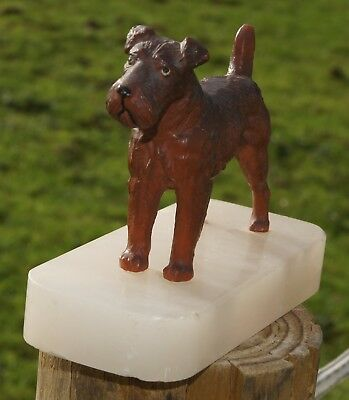 Vintage Cold Painted Spelter Fox Terrier Dog on Onyx Base