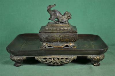 ANTIQUE 19th CENTURY CHINESE BRONZE INKWELL INK STAND   (B56)
