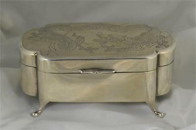 ANTIQUE 19th CENTURY CHINESE SILVER BOX WITH DRAGON DECORATION BY TACKHING (B58)
