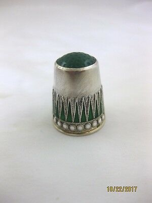 Antique Solid Silver   THIMBLE   NORWEGIAN  ENAMELLED  Circa 1910