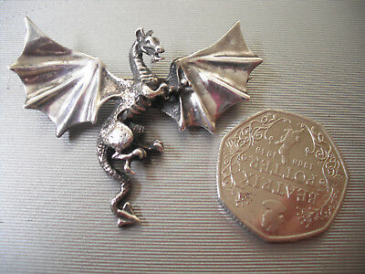 925 SILVER Cornish dragon brooch 11.2gms hallmarked mythical good cond 1980's