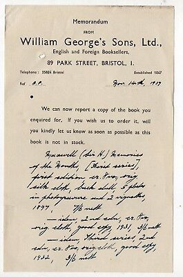 1939 memo from William George's Sons, booksellers, Bristol